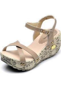 Sandália Betina Beker Top Franca Shoes Anabela Feminina - Feminino-Bege