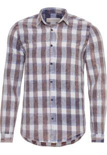 Camisa Masculina Ckj Xadrez Diagonal - Marrom E Azul