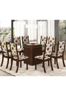 Conjunto Para Sala De Jantar Mesa E 8 Cadeiras Amora Siena Móveis Choco/Primavera
