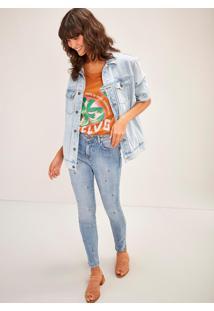 Calça Jeans Skinny Cintura Alta Bordada Arara Jeans