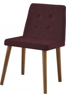 Cadeira Flan Bordo Base Castanho - 50725 - Sun House