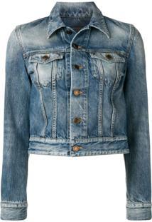 Saint Laurent Jaqueta Jeans Com Logo - Azul
