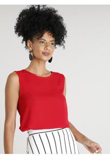 Regata Feminina Com Recorte Decote Redondo Vermelha