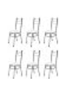 Kit 6 Cadeiras Baixas 0.236 Redonda Cromado/Branco - Marcheli