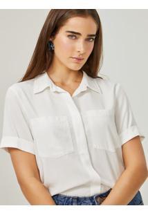 Amaro Feminino Camisa Manga Curta Bolsos Esntl, Off-White
