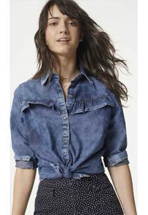 Camisa Jeans Feminina Com Lavação E Babados