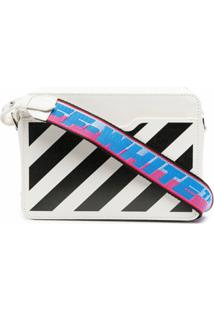 Off-White Bolsa Diag Mini Com Aba - Branco
