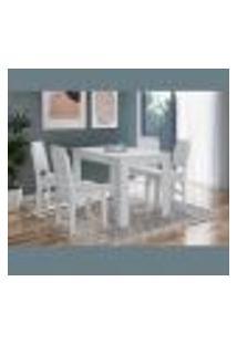 Conjunto De Mesa De Jantar Com 4 Cadeiras Branco Lilies Móveis