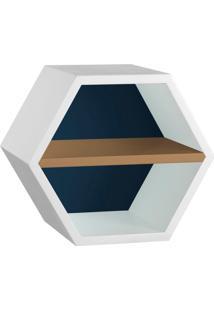 Nicho Hexagonal Favo Ii Com Prateleira Branco Com Azul Noite E Marrom Médio