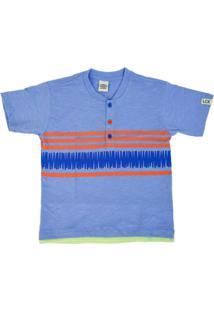 T-Shirt Lápis De Cor Em Malha Azul