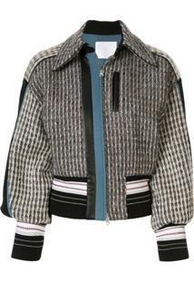 Mame Kurogouchi Tweed Bomber Jacket - Azul