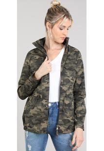 Jaqueta De Sarja Feminina Estampada Camuflada Gola Alta Com Botões Verde Militar