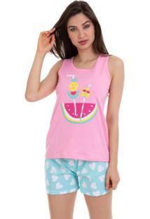 Pijama Short Doll Regata Feminina Verão Frutinhas Em Algodão Luna Cuore
