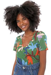 Camiseta Cantã£O Floral Verde/Azul - Verde - Feminino - Poliã©Ster - Dafiti