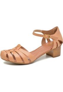 Sandália Retrô De Salto Touro Boots Feminina Avelã - Kanui