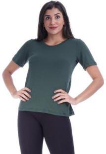 Blusa Basica Amazonia Vital Com Recorte Nas Costas Feminina - Feminino-Verde