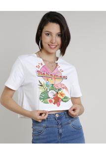 """Blusa Feminina Cropped """"Bahamas"""" Manga Curta Decote V Off White"""