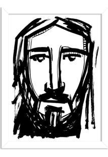 Quadro Decorativo Religião Rosto Do Rei Cristo Branco - Médio