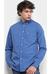 Camisa Manga Longa Tommy Jeans Classics Stripe Bolso Masculina - Masculino-Listrado