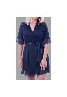 Robe Feminino Em Liganete E Renda Robe Curto Ritati 51474