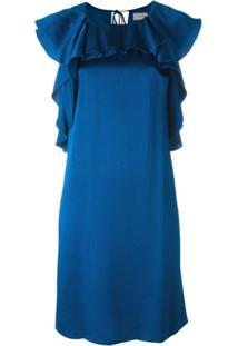 Lanvin Vestido Com Babados - Azul
