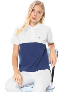 Camisa Polo Lacoste Reta Color Block Off-White/Azul