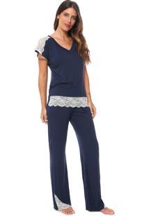 Pijama La Rudge Essentiel Azul-Marinho