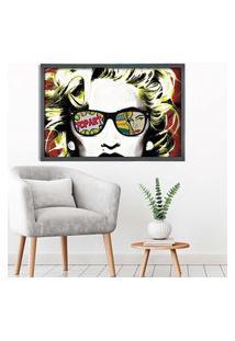 Quadro Love Decor Com Moldura Madonna Em Pop Art Grafitti Metalizado Grande