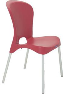 Cadeira Jolie- Vermelho Escuro & Prateada- 88X59X52,Tramontina