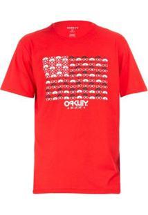 Camiseta Oakley Eyewear Flag Tee Masculina - Masculino-Vermelho