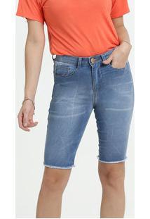 Bermuda Feminina Jeans Barra Desfiada Marisa