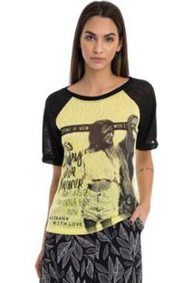 T-Shirt Moikana De Malha Com Estampa Frente - Feminino-Amarelo