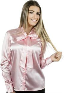 Camisa Pimenta Rosada Laço Lola - Feminino-Rosa Claro