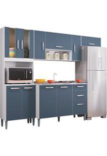 Cozinha Compacta 8 Portas Com Balcão E Pia Inox Lavínia Branco/Cinza P