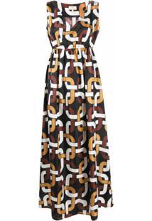 Altea Vestido Longo Com Estampa Geométrica - Preto