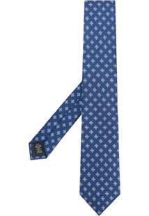 Ermenegildo Zegna Cachecol Com Bordado Floral De Seda - Azul
