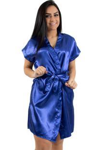 Robe De Cetim Linha Noite 017 Azul - Azul - Feminino - Poliã©Ster - Dafiti
