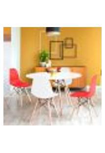 Conjunto De Mesa De Jantar Com 4 Cadeiras Eames Eiffel Premium Branco E Vermelho