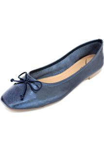Sapatilha Couro Dali Shoes Bailarina Azul - Kanui