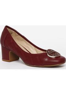 f524bef155 ... Sapato Tradicional Em Couro Com Pespontos- Bordô- Sacapodarte
