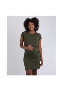 Vestido Feminino Gestante Curto Com Sobreposição Manga Curta Verde Escuro