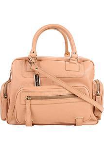 Bolsa Couro Luiza Barcelos Handbag Viena Feminina - Feminino-Areia