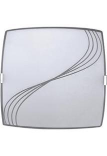 Plafon Sobrepor Attena Quadrado Pequeno 21Cm Em Vidro – Branco
