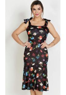 Vestido Floral Preto De Alças Moda Evangélica