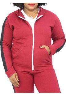 Jaqueta Sangos Moletom Plus Size Flanelada Feminina - Unissex