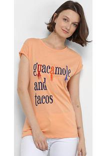 Camiseta Lez Lez Guacamole And Tacos Feminina - Feminino-Salmão+Laranja