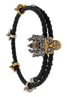 Alexander Mcqueen Skull Charm Bracelet - Preto