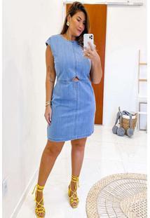 Vestido Almaria Plus Size Izzat Curto Recortes Azu