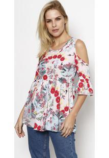 Blusa Floral Com Franzidos- Rosa Claro & Rosa Escuromoisele