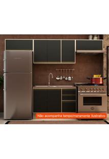 Cozinha Compacta Safira Ii 7 Pt 3 Gv Preta E Creme